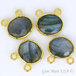 Clearance Sale Oval 10x12mm Cat Bail Gold Bezel Gemstone Connector
