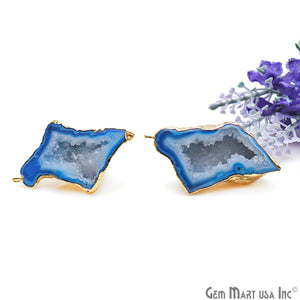 DIY Agate Slice Geode Druzy 24x49mm Gold Electroplated Loop Connector Studs Earrings - GemMartUSA