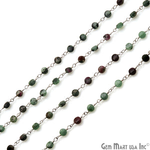 Ruby Zoisite Faceted 3-4mm Silver Wire Wrapped Rosary Chain - GemMartUSA