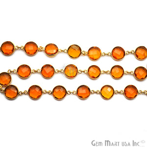 Citrine 12mm Round Gold Plated Continuous Connector Chain - GemMartUSA