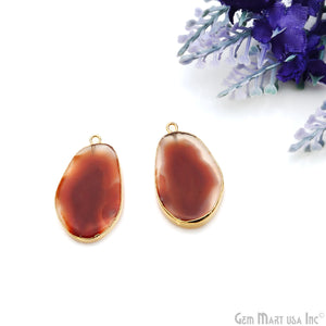 Agate Slice 31x18mmOrganicGold Electroplated Gemstone Earring Connector 1 Pair