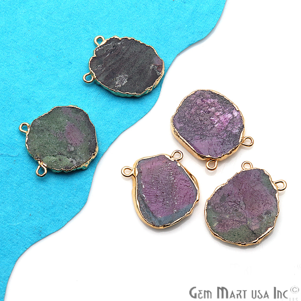 Rough Ruby Zoisite Gemstone 25x19mm Gold Edge Cat Bail Connector Charm