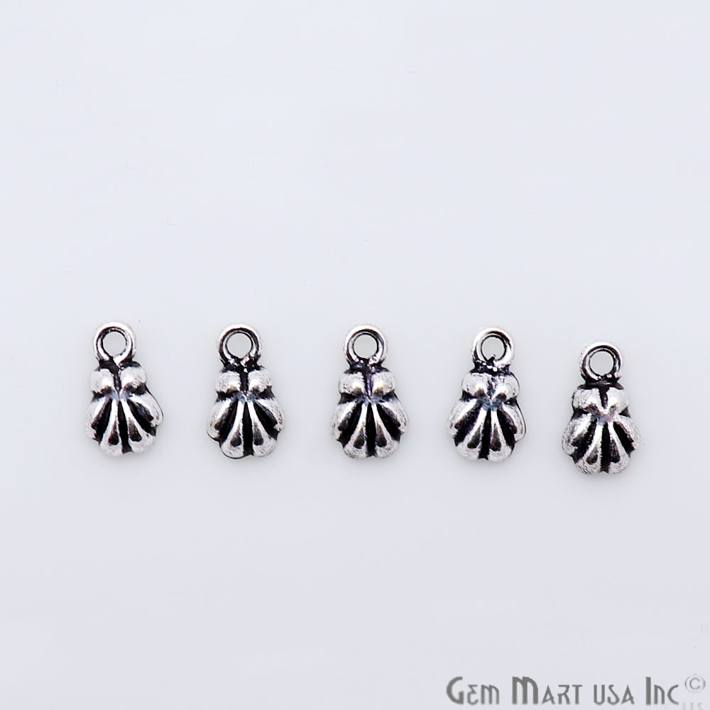5pc Lot Seashell Shape Oxidized 9x5mm Charm For Bracelets & Pendants