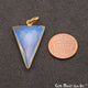 White Opal Triangle 21x35mm Gold Plated Single Bail Gemstone Pendant - GemMartUSA