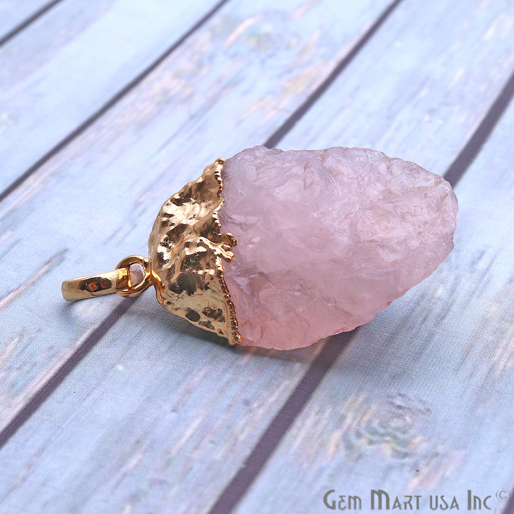 Rough Rose Quartz 38x22mm Gold Electroplated Single Bail Pendant