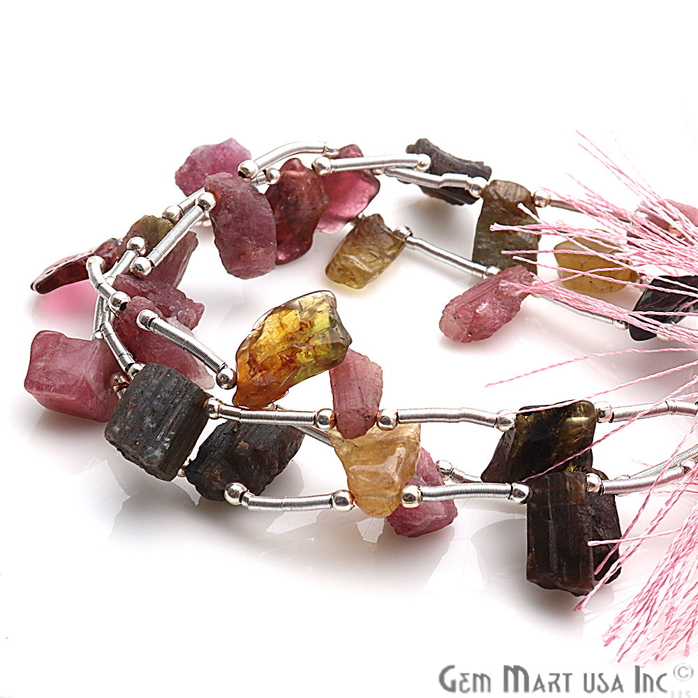 Natural Rough Gemstone Beaded Bracelet Handmade Silver Wire Rondelle (Pick Your Gemstone)