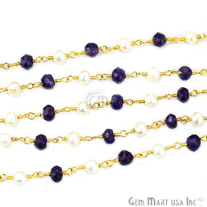 Amethyst With Pearl Gold Plated Wire Wrapped Beads Rosary Chain - GemMartUSA