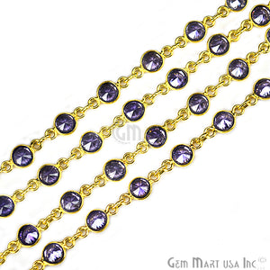 Tanzanite 4mm Round Gold Bezel Continuous Connector Chain - GemMartUSA