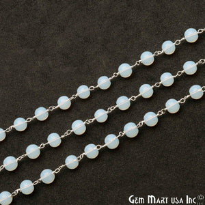 Opalite Jade Smooth Beads 6mm Silver Plated Wire Wrapped Rosary Chain - GemMartUSA