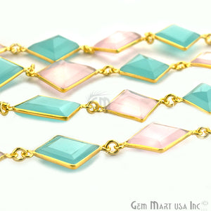 Rose with Aqua 10-15mm Gold Bezel Continuous Connector Chain