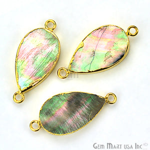 Abalone 13x22mm Pears Shape Gold Electroplated Double Bail Gemstone Connector