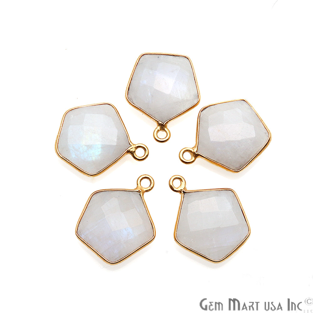 Rainbow Moonstone Pentagon Shape Gold Plated Single Bail 16x13mm Gemstone Connector