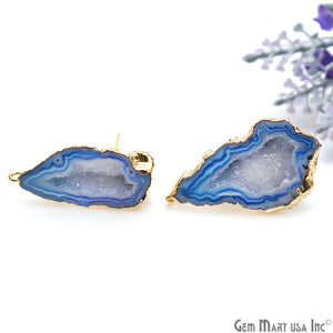 DIY Agate Slice Geode Druzy 13x34mm Gold Electroplated Loop Connector Studs Earrings - GemMartUSA