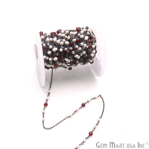 Garnet & Pearl Multi Gemstone Beaded Wire Wrapped Rosary Chain