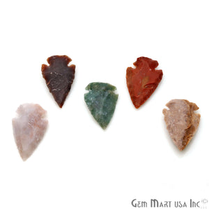 5pc Lot Arrowhead Cut Gemstones, 33x20mm Handcrafted Stone, Loose Gemstone, DIY Pendant, DIY Jewelry - GemMartUSA