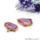 Agate Slice 32x20mm Organic Gold Electroplated Gemstone Earring Connector 1 Pair - GemMartUSA