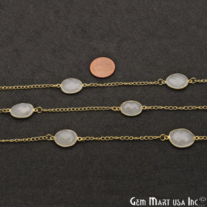 White Chalcedony Oval 10-15mm Gold Plated Bezel Connector Chain