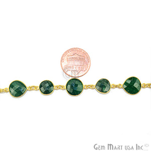 Emerald 10mm Mix Faceted Shape Gold Plated Continuous Connector Chain - GemMartUSA