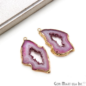 Agate Slice 43x26mm Organic  Gold Electroplated Gemstone Earring Connector 1 Pair - GemMartUSA