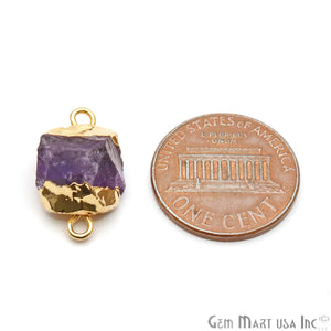 Rough Amethyst Organic 22x13mm Gold Electroplated Pendant Connector - GemMartUSA