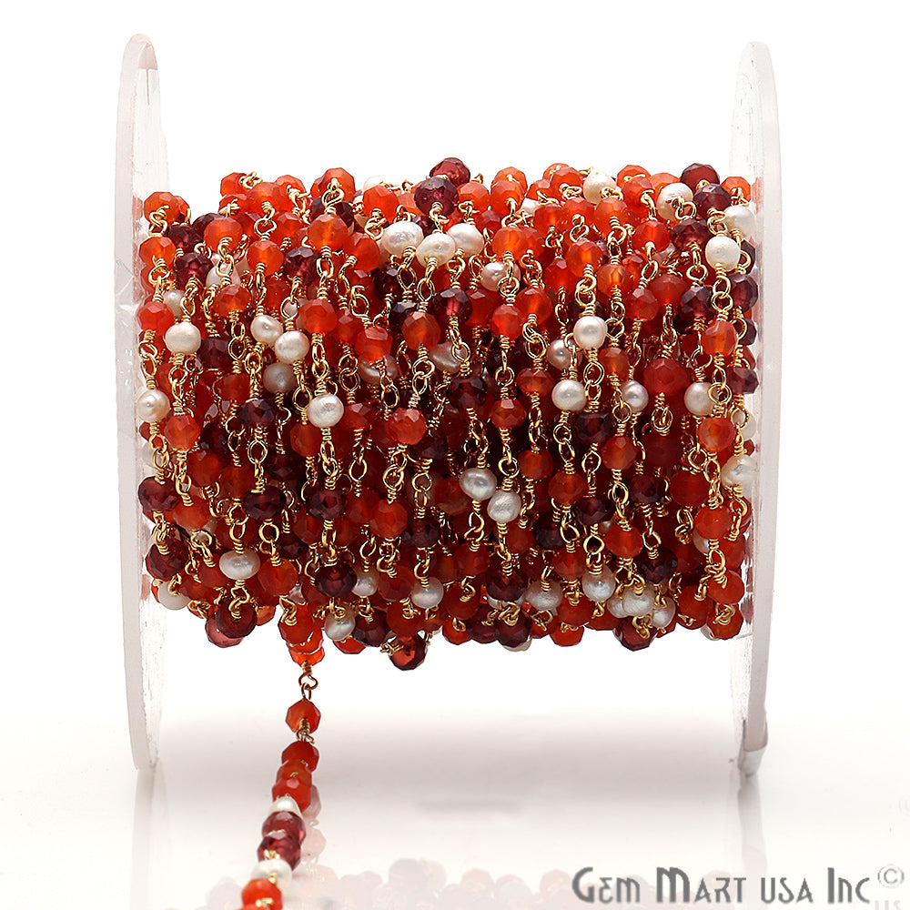 Carnelian, Garnet & Pearl Multi Gemstone Beaded Wire Wrapped Anglican Rosary Chain