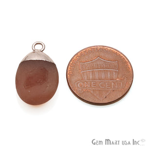 Rough Carnelian Matte Beads Organic 18x13mm Rose Gold Electroplated Pendant Connector