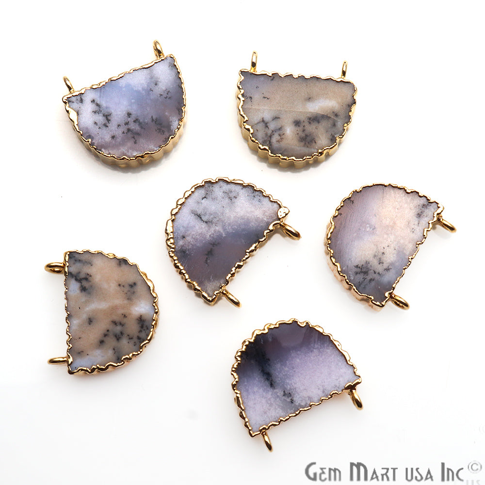 Semi Round Shape Dendrite Opal Gemstone 20mm Cat Bail Zig Zag Gold Edge Connector