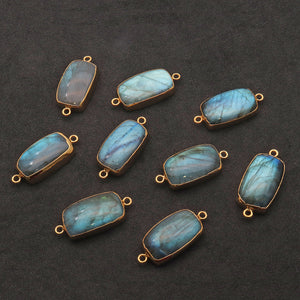 Labradorite Cabochon 30x14mm Octagon Gold Electrolated Double Bail Gemstone Connector - GemMartUSA