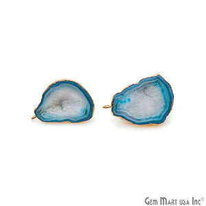 DIY Agate Slice Geode Druzy 23x33mm Gold Electroplated Loop Connector Studs Earrings - GemMartUSA