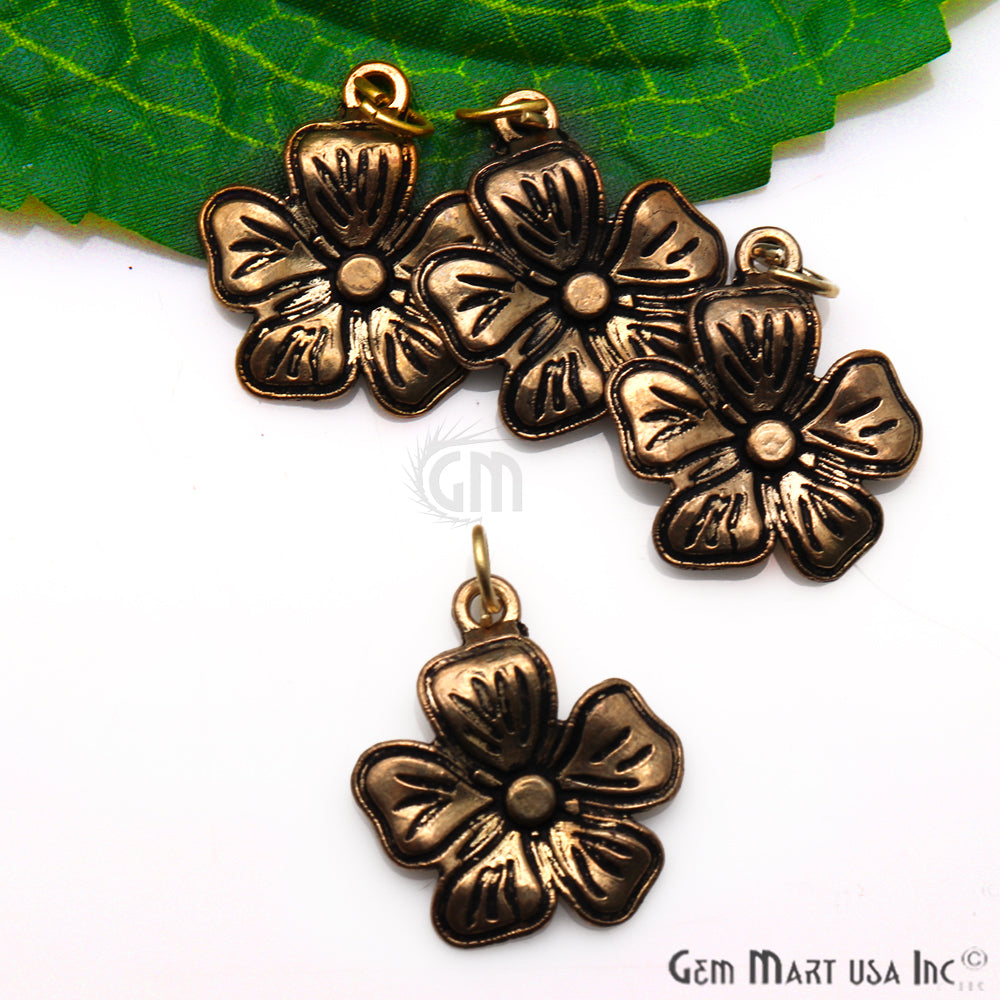 Flower Shape Antique Plated 23x19mm Charm For Bracelets & Pendants
