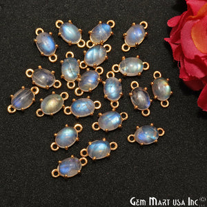Rainbow Moonstone Cabochon 12x6mm Oval Prong Gold Plated Bail Connector - GemMartUSA