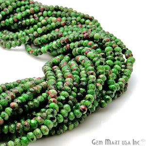 Ruby Zoipsite Jade 3-4mm Faceted Rondelle Beads Strands 14Inch - GemMartUSA