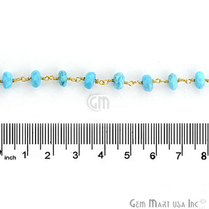 Turquoise Beads Chain, Gold Plated Wire Wrapped Rosary Chain - GemMartUSA