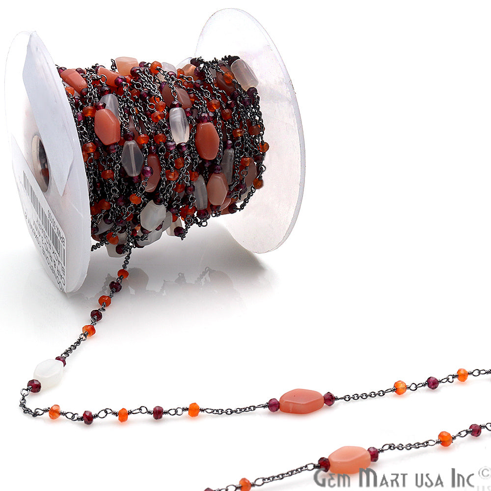 Moonstone, Carnelian & Rhodolite Multi Gemstone Beaded Wire Wrapped Anglican Rosary Chain