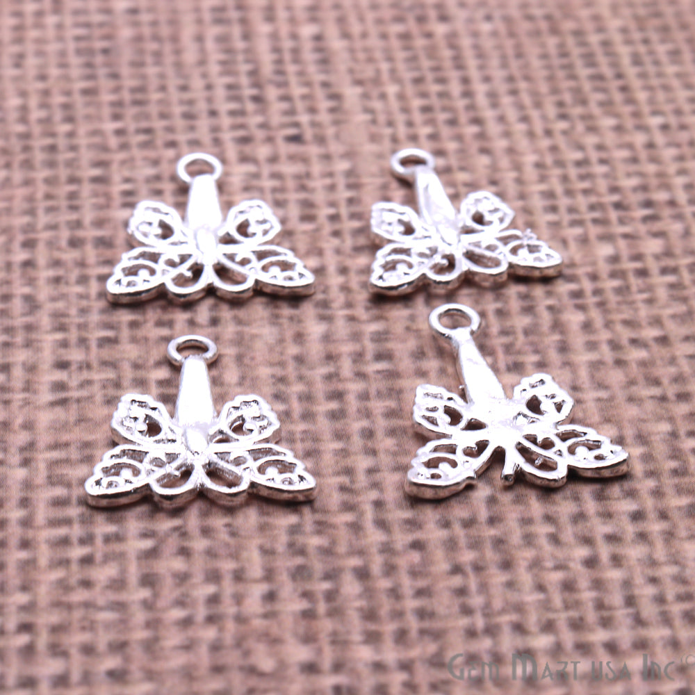5 Pc Lot Butterfly Findings, Findings, Filigree Findings, Findings, Jewelry Findings, 19x17mm (50060)