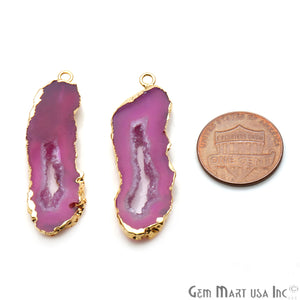 Agate Slice 42x12mm Organic Gold Electroplated Gemstone Earring Connector 1 Pair - GemMartUSA