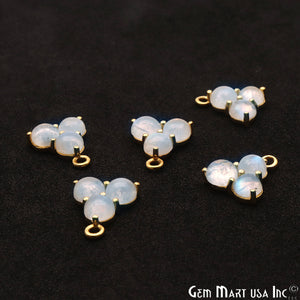 Rainbow Moonstone Gemstone 16x13mm Prong Setting Gold Plated Component Connector - GemMartUSA