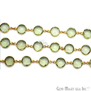 Green Amethyst 12mm Round Gold Plated Continuous Connector Chain