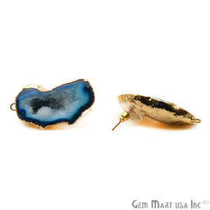 DIY Agate Slice Geode Druzy 48x17mm Gold Electroplated Loop Connector Studs Earrings - GemMartUSA