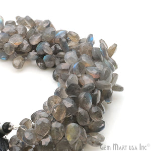 "Labradorite 7x5mm Pears Blue Flash Faceted Beads Strands 8"" Inch"