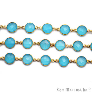 Sky Blue Chalcedony Round 12mm Gold Bezel Continuous Connector Chain - GemMartUSA