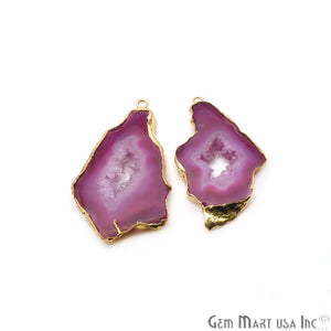 Agate Slice 52x28mm Organic  Gold Electroplated Gemstone Earring Connector 1 Pair - GemMartUSA