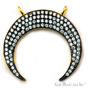 'Moon' CZ Pave Gold Vermeil Charm for Bracelet & Pendants