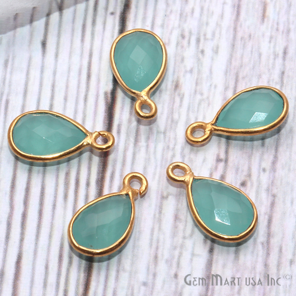Aqua Chalcedony Pears Shape 6x9mm Gold Plated Single Bail Gemstone Connector