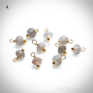 10pc Lot Faceted Tiny Gemstone 6x4mm Wire Wrapped Gold Bail Dangle Connector - GemMartUSA