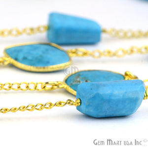 Turquoise 10-15mm Mix Shapes Gold Plated Bezel Rosary Connector Chain - GemMartUSA