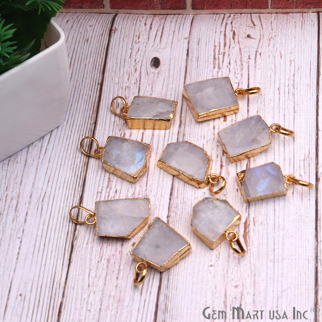 DIY Rough Rainbow Moonstone 42x30mm Gold Edge Necklace Pendant