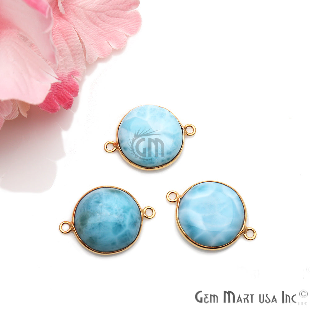 Larimar Cabochon Gemstone 24x17mm Gold Plated Connector