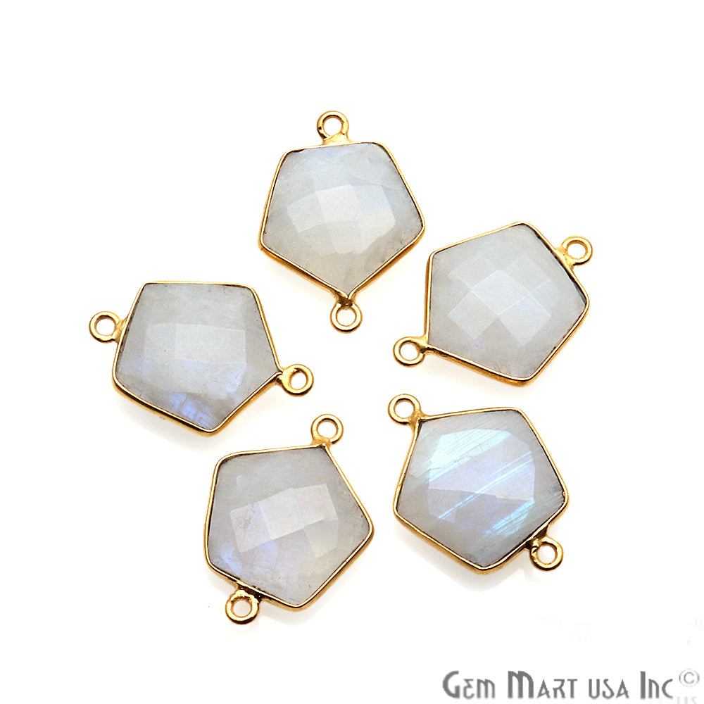 Rainbow Moonstone Pentagon Shape Gold Plated Double Bail 21x15mm Gemstone Connector