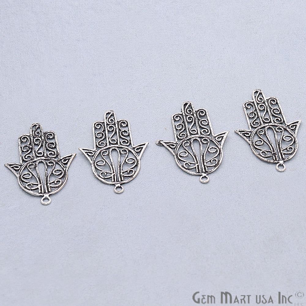 Hamsa Shape Oxidized 40x26mm Charm For Bracelets & Pendants